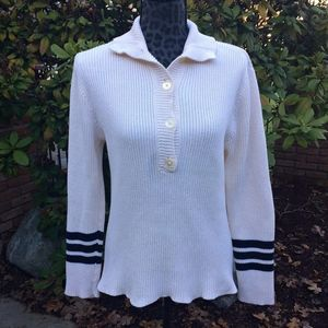 Ralph Lauren Off White and Navy Button Up Sweater